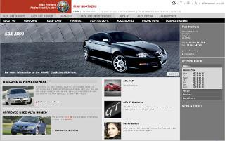 Screen shot of Alfa Romeo Fish Brothers' website