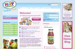 Screen shot of the HiPP Baby Club website