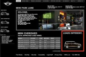 Screen shot of MINI Park Lane's website