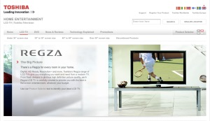 Screen shot of Toshiba UK Consumer Products web site