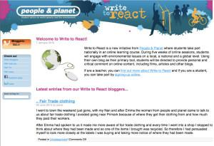 Screen shot of the Write to React blogging site
