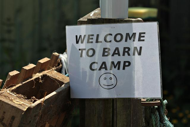 Welcoming sign from BarnCamp 2013